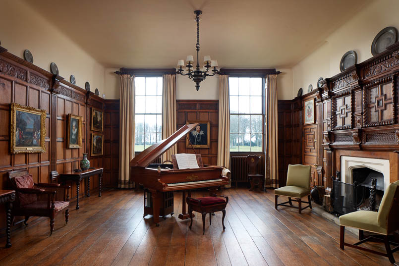 panelled music room Interior photography of Lamport Hall by Matt Clayton