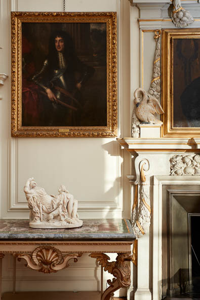 Ornate fireplace detail Interior photography of Lamport Hall by Matt Clayton