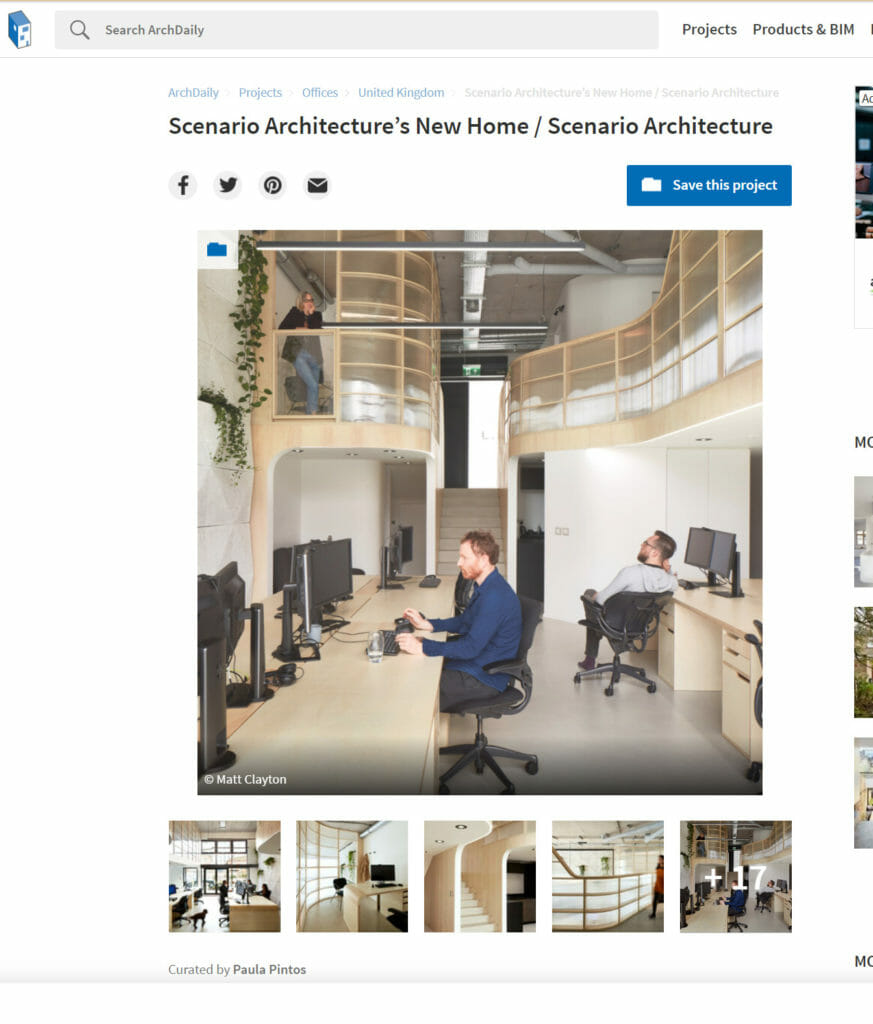 Tear Sheet of Arch Daily Article about Scenario Architectures new office featuring photos by Matt Clayton